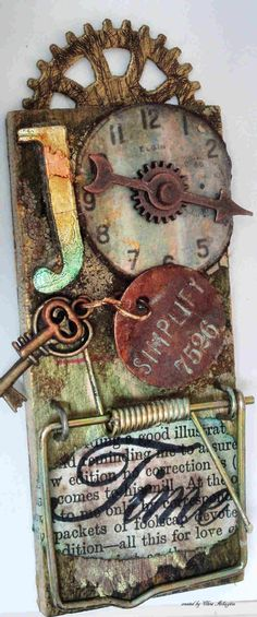 steampunk paper crafts, mous trap, alter art, tag, wall clocks