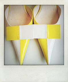 Lemon and white checkered low-heeled shoes, Louis Vuitton