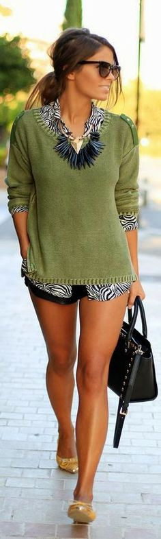 Green Sweater Street Fashion - Casual outfit Casual work outfit #womensfashion #outfits #casualoutfit green shorts outfit, outfits, leg, sweater, fashion, statement necklaces, shorts heel, zebra print, clothing styles