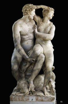Dido and Aeneas. 1558. Vincenzo di raffaello de Rossi. Italian. 1525-1585.    marble. Palazzo Pitti. Florence.