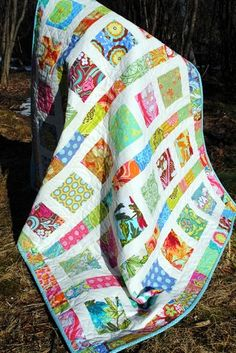 Easy BABY QUILT PATTERN Charm Squares, layer cake or FQs, Flowers in the Sun
