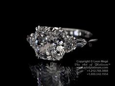5 stone ring, cushion cut center, two half moons, followed by a pair of tapered bullets  THIS is the perfect ring.
