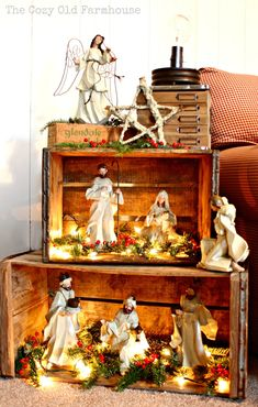 Such a pretty way to display a nativity... Or a Christmas village!