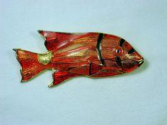 Vintage Fish Brooch Orange Enamel Pin by LavenderGardenCottag