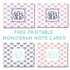 Free Printable Monogram Bow Note Cards from printablemonogram.com #freeprintable