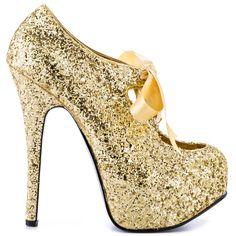 Sin City heels Gold Glitter brand heels Viva Bordello  Amazoning Heels 