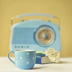 cup, feeling blue, polka dots, color, vintage, retro, radio, baby blues, thing