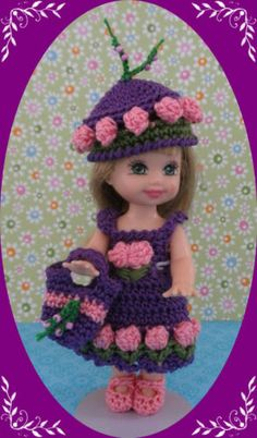 """Crochet Doll Clothes Outfit Purple Tulip for 4 ½"""" Kelly & same size dolls"""