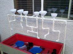 Water table with PVC pipe.