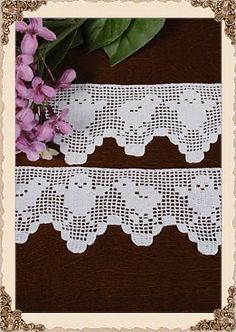 Pair of Antique lace trims - hand crocheted filet - darling chicks