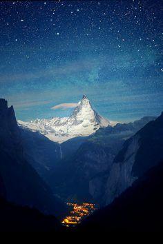 View from Lauterbrunnen valley to the Matterhorn, Switzerland