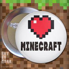 Heart Minecraft love  - 1.25 inch - Pinback Button. $1.50, via Etsy.