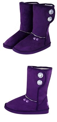 Purple Paw Microfiber Sherpa Lined Sparkle Button Boots at The Animal Rescue Site