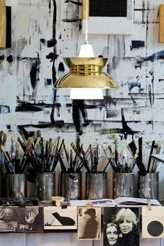 ... studio spaces, art studios, lamp, black white, painting studio, brush, artist, workspac, art rooms