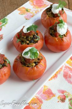 Taco Egg Stuffed Tomatoes/ sugarfreemom.com