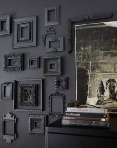 black wall / black frames