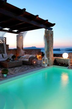 swimming pools, villa, outdoor living, dream, greece, patio, hous, place, santorini