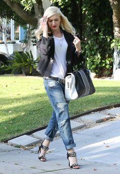 beverly hills, boyfriend jeans, gwen stefani, stefani style, street styles, blazers, fashion inspir, shoe, rocker style