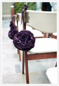 wedding ceremonies, aisle decorations, flower ball, idea, purple, chairs, weddings, wedding aisles, chair decorations