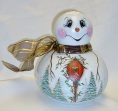 Snowman Gourd with Birdhouse  Hand Painted Gourd by FromGramsHouse, $32.00