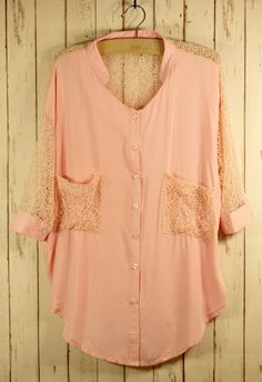 Slouchy Peach Button Up