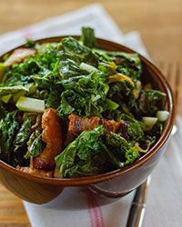 Braised Kale with Bacon and Apples Recipe on Food & Wine