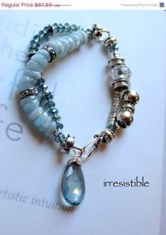 blue bracelet multi strand bracelet chunky bracelet by molliecarey
