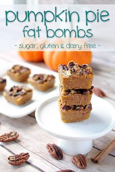 "Pumpkin Pie Bites - Low Carb & Dairy Free Fat Bombs that will remind you of fall no matter what month it is! Sugar free & gluten free too! More recipes like this at <a href=""http://www.tasteaholics.com"" rel=""nofollow"" target=""_blank"">www.tasteaholics.com</a>"