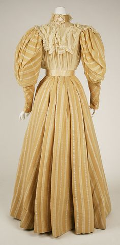 Striped afternoon dress (back, with detachable lower sleeves and chiffon dickie), American, 1890s.
