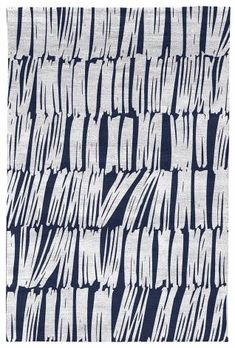Judy Ross Hand-Knotted Custom Wool Static Rug navy/silver silk