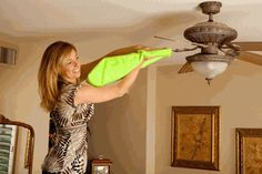 Fanblade Cleaner Green Microfiber Sleeve Cleans Ceiling Fans Easily & Mess Free