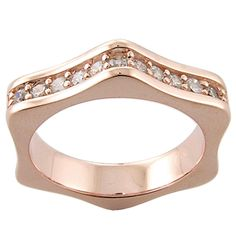 925 Sterling Silver with 18k Pink gold plate Cubic Zirconia Ring