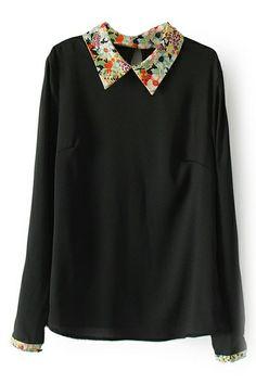 ROMWE | Floral Print Long Sleeve Black Blouse, The Latest Street Fashion