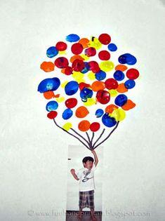 "Fingerprint Balloon Craft -- Glue a photo of child ""holding"" the balloons. Love it!"