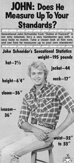 Does he measure up? — John Schneider / 'Bo Duke' (1979-82; 1983-85) in Dukes of Hazzard (1979-85, CBS)