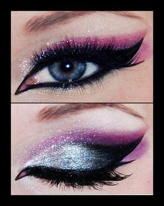 Purple Glitter Cat Eye #eyeshadow #makeup