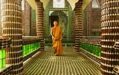 Buddhist monks built this from Beer Bottles!!...100 Bottle of Beer on the wall...