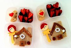 Houses in your packed lunch box! Lunch Box ideas for back to school lunch idea, kid lunches, little houses, lunch boxes, valentine day, packed lunches, box lunches, meal, rice crispy treats