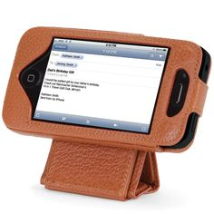 The iPhone 5 Leather Case and Stand - Hammacher Schlemmer