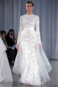 Lovely long sleeves by @Monique Lhuillier