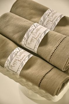 Wendelline Papers favor wraps used as personalized napkin rings