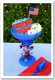 4th of July Dessert!  Strawberry cake with blue frosting, ice cream with sprinkles, with star garland wrapped around the margarita glass.