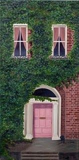 pink door, green ivy