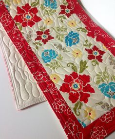 Table Runner, Floral, Red, Cream, Mulit Color, Henry Glass Fabric, Summer House