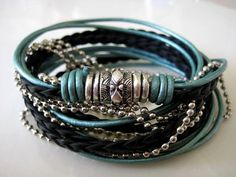 Boho Chic Pearlized Teal and Black Leather Wrap by LeatherDiva, $41.00