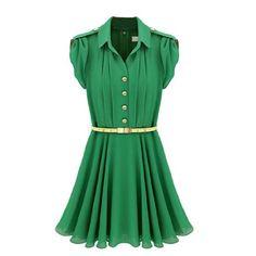 Amazon.com: Hee Grand Women Pleated Puff Sleeve Chiffon Dress: Clothing