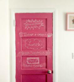 pink chalkboard door,its Pink?