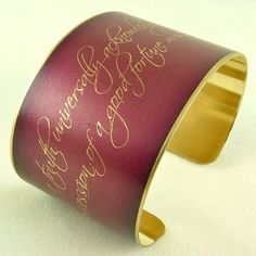Pride and Prejudice Book Quote Jewelry - Jane Austen Brass Cuff Bracelet - Must be in want of a wife