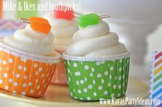 Popsicle cupcakes made with Mike & Ike candies and toothpicks! www.KarasPartyIdeas.com #party #ideas #cupcakes #popsicle