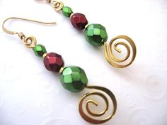 Beaded Christmas Earrings Green and Red by SkyLineJewelry on Etsy, $16.00